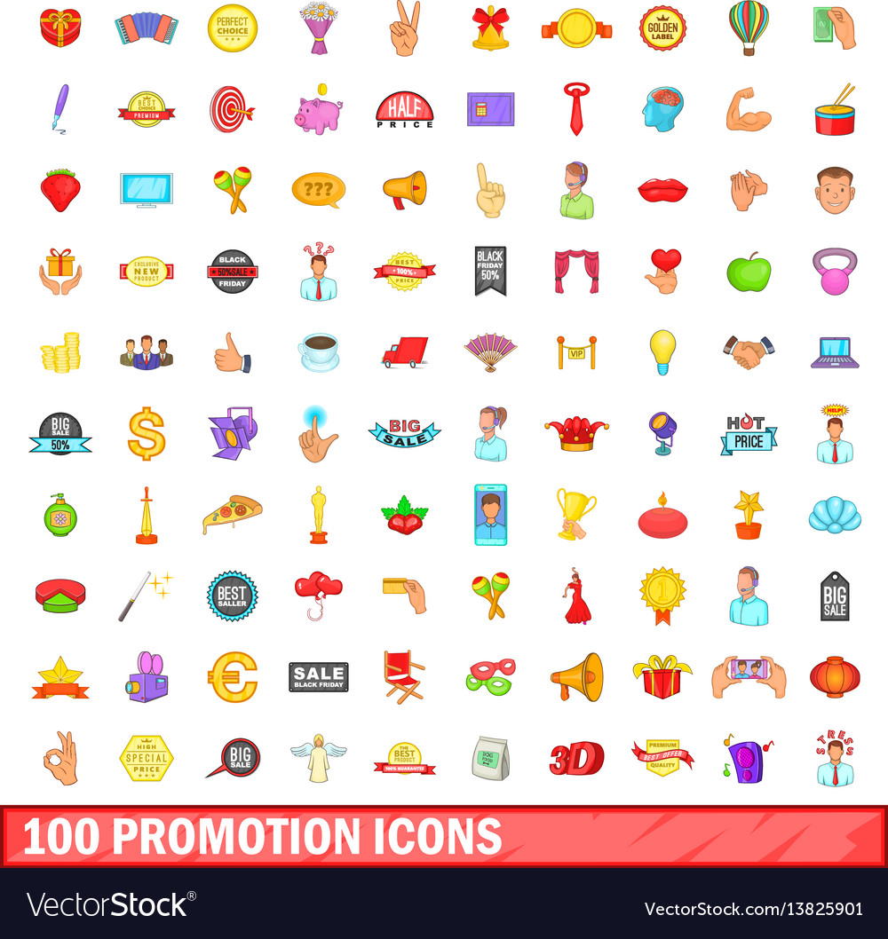 100 promotion icons set cartoon style