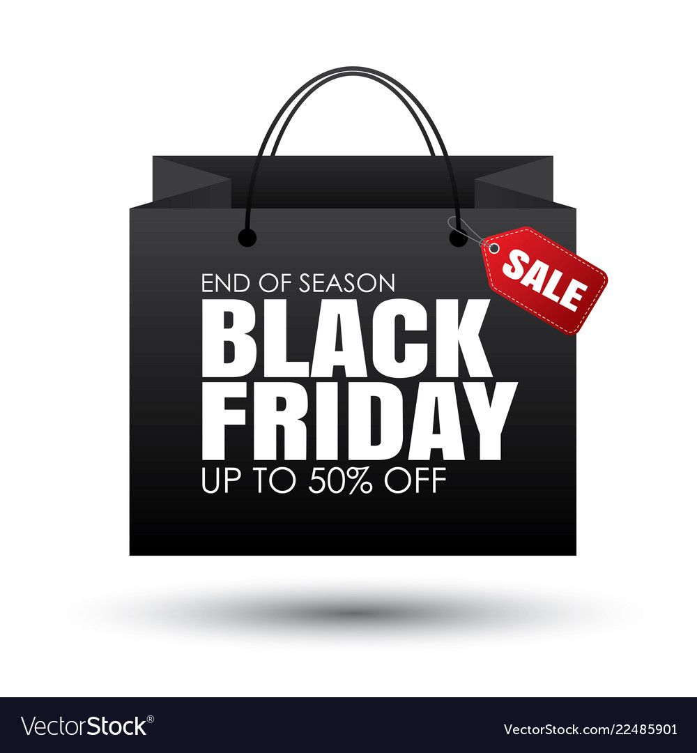 Black friday shopping bag and sales tag on white