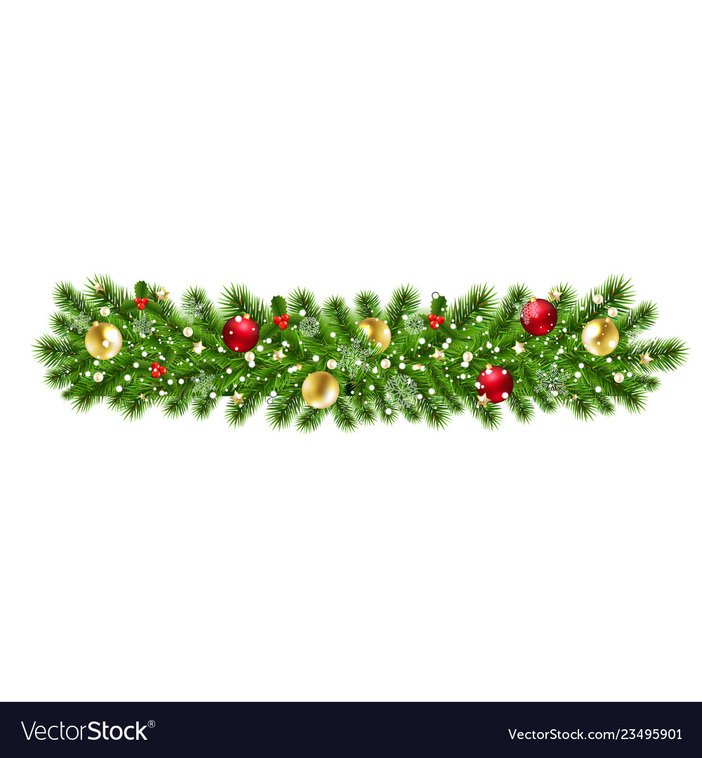 Christmas garland isolated background
