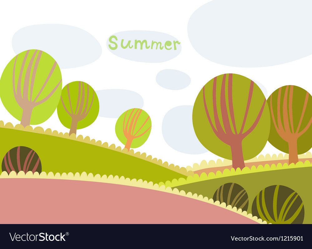 Colorful summer landscape with trees and clouds