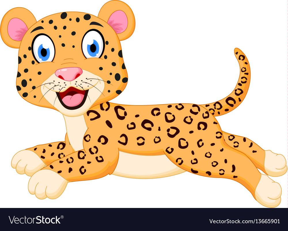 Cute leopard cartoon jumping