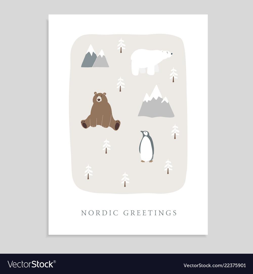 Cute merry christmas greeting card invitation