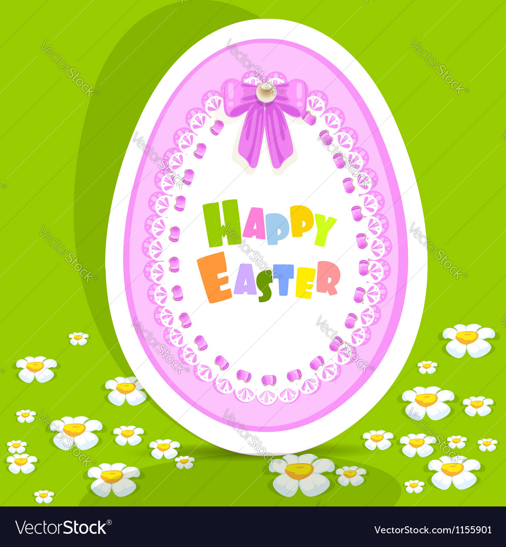Egg-laced Easter postcard on green background