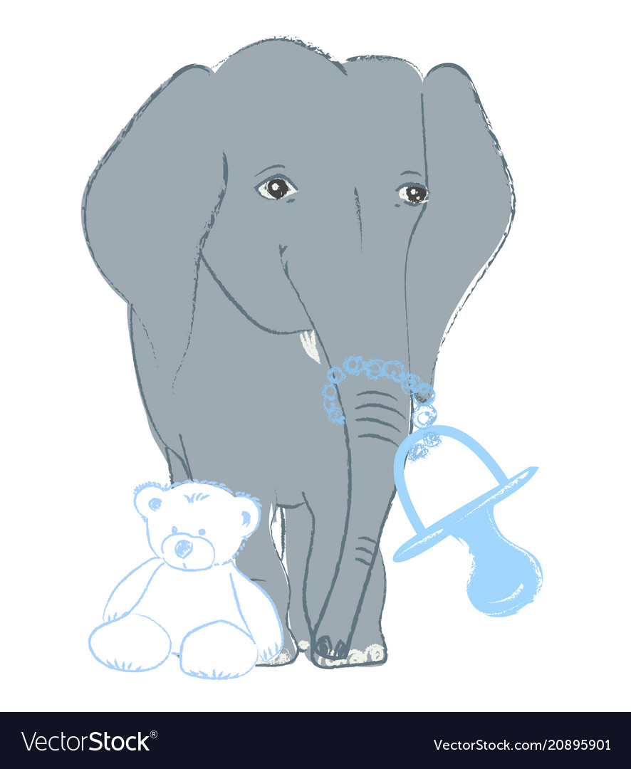 Hand drawn with a cute baby elephant celebrating