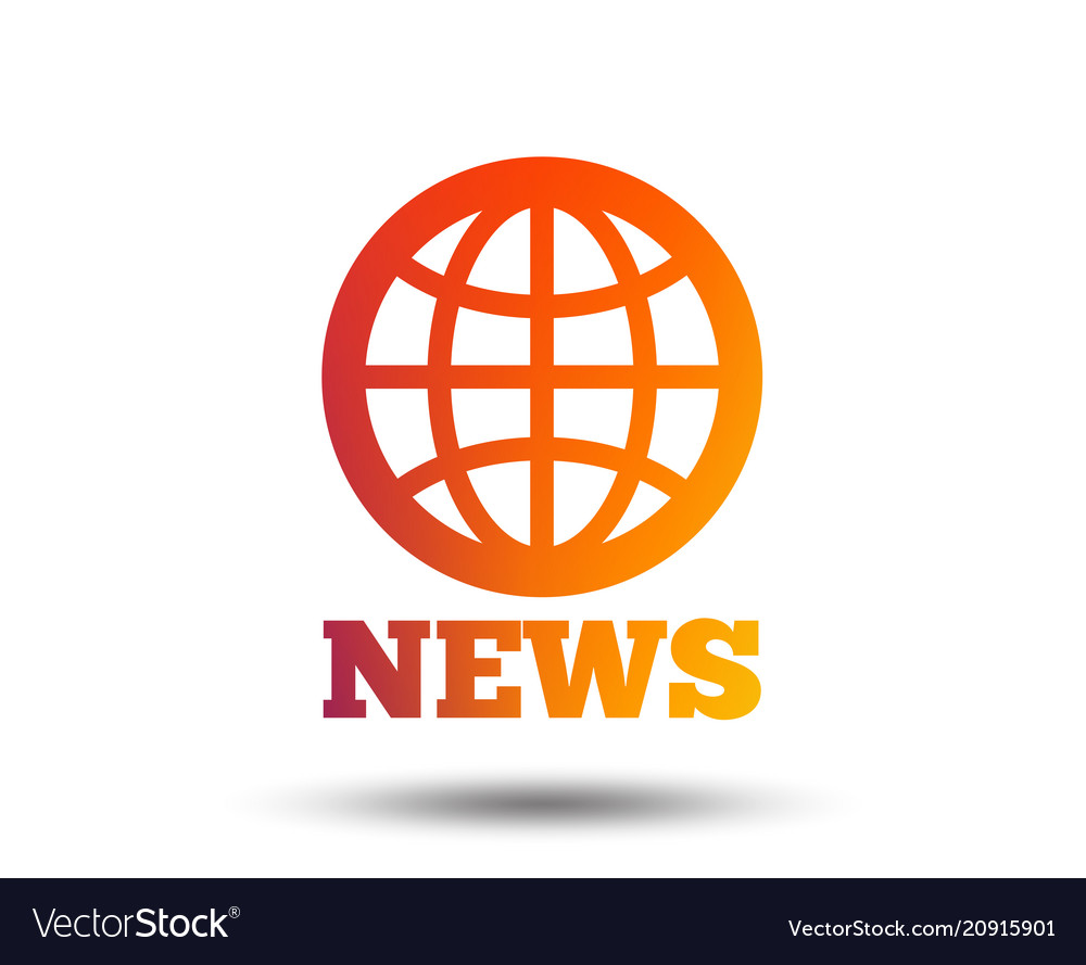 News Sign Icon World Globe Symbol Royalty Free Vector Image