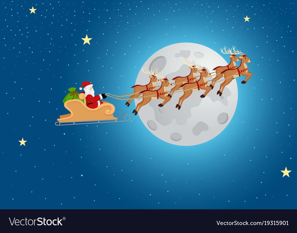 santa claus riding his sleigh royalty free vector image