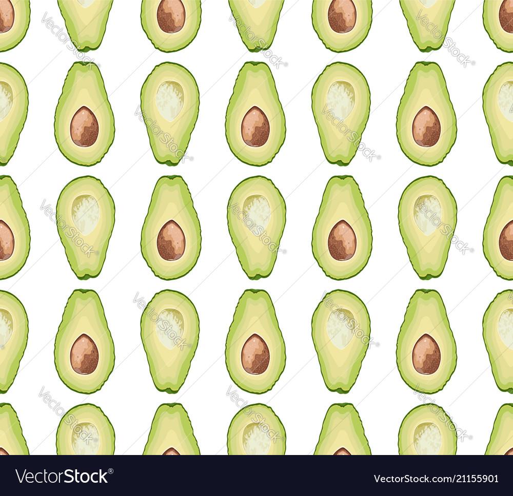 Seamless pattern of avocado slice
