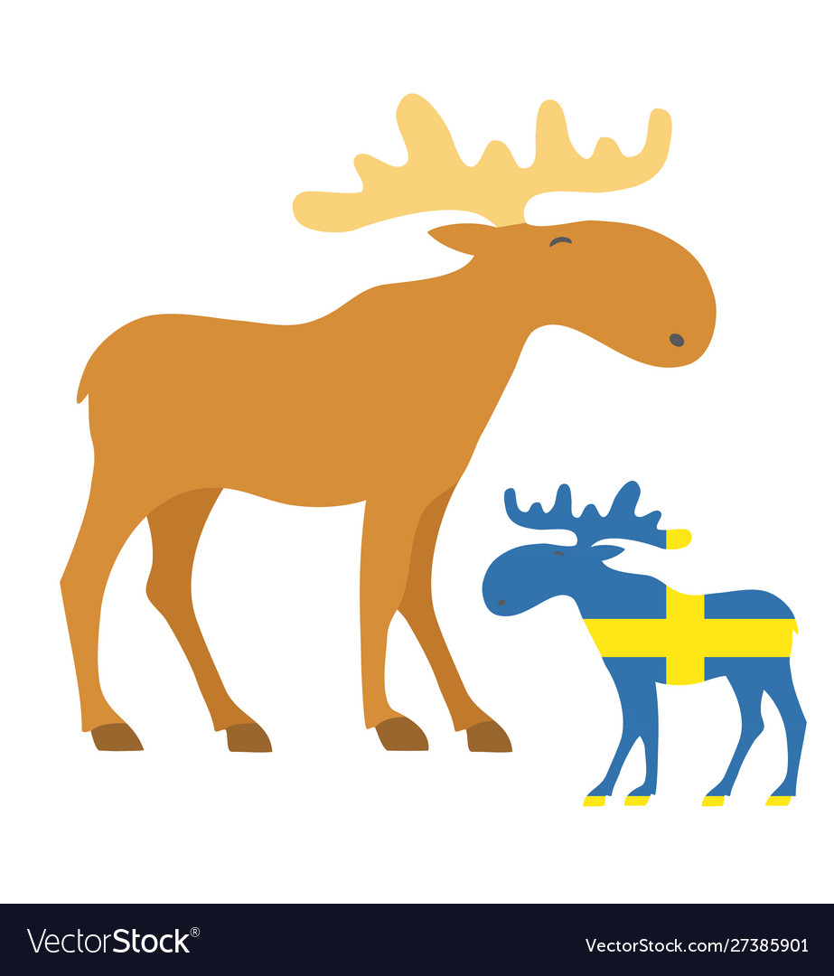 Set mooses icon with sweden flag