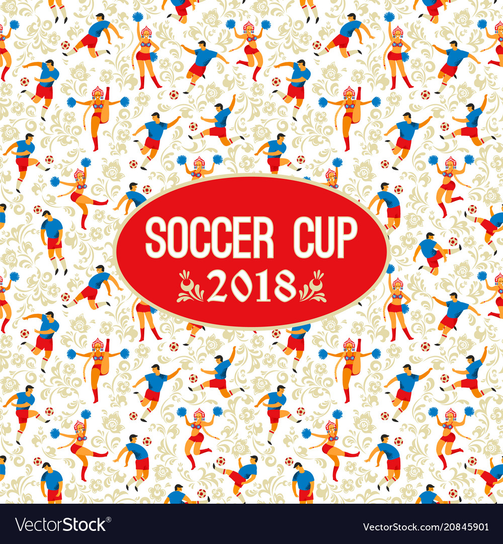 Soccer cup on background with soccer players and