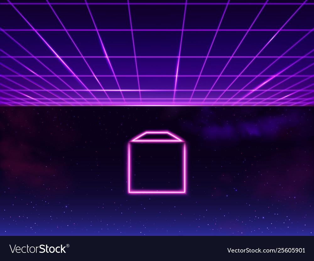 Synthwave retro sci-fi 80s 90s neon background