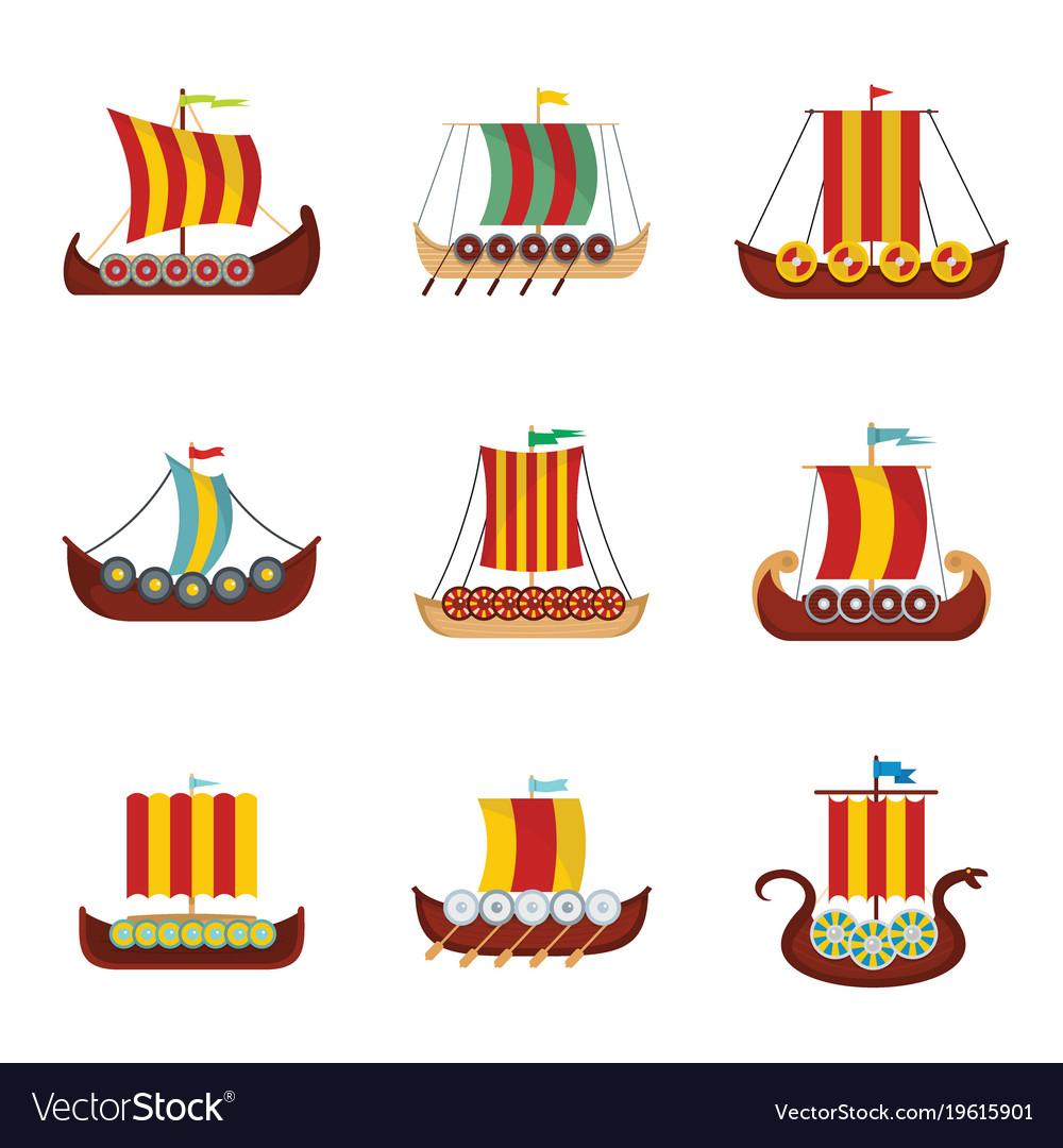 Viking ship boat drakkar icons set flat style