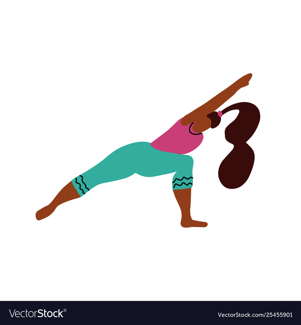 Young woman stand on two legs in a yoga pose and