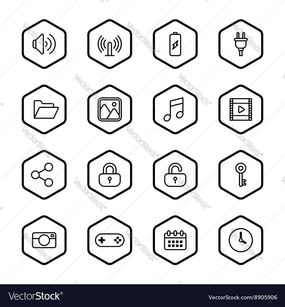 Black line web icon set with hexagon frame Vector Image