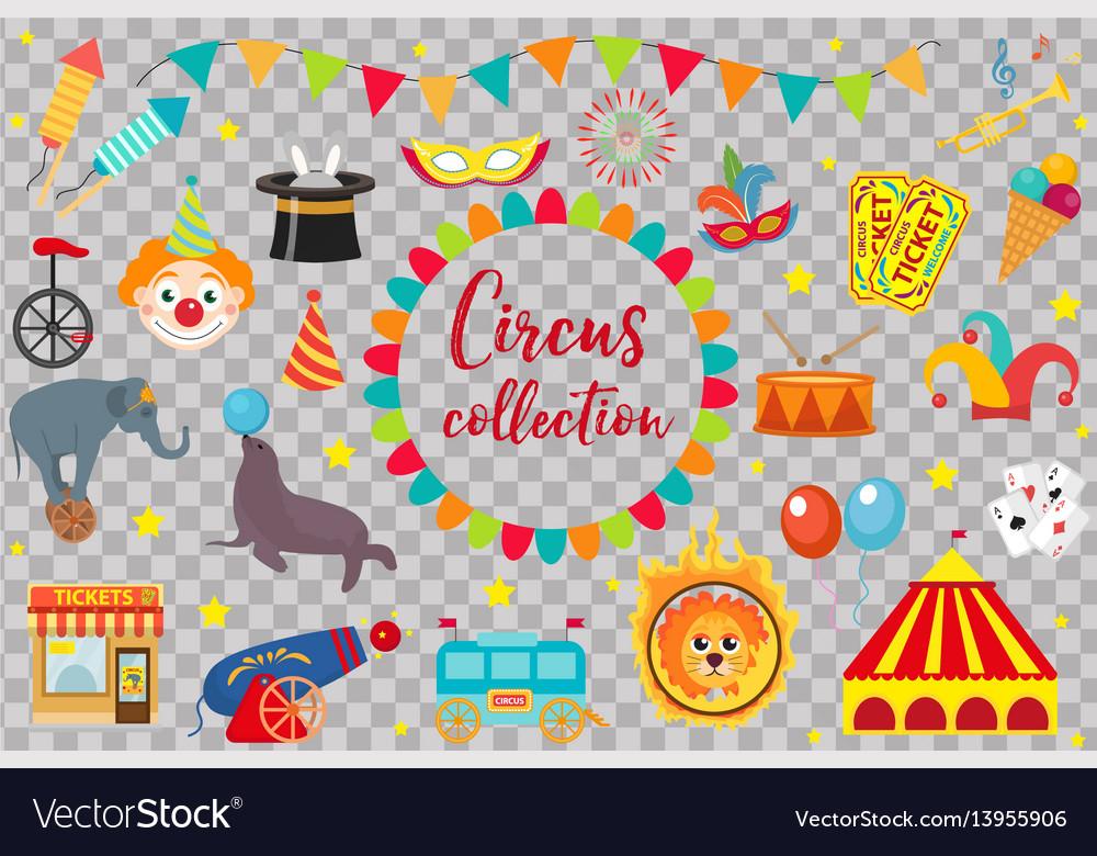 Circus collection flat cartoon style set
