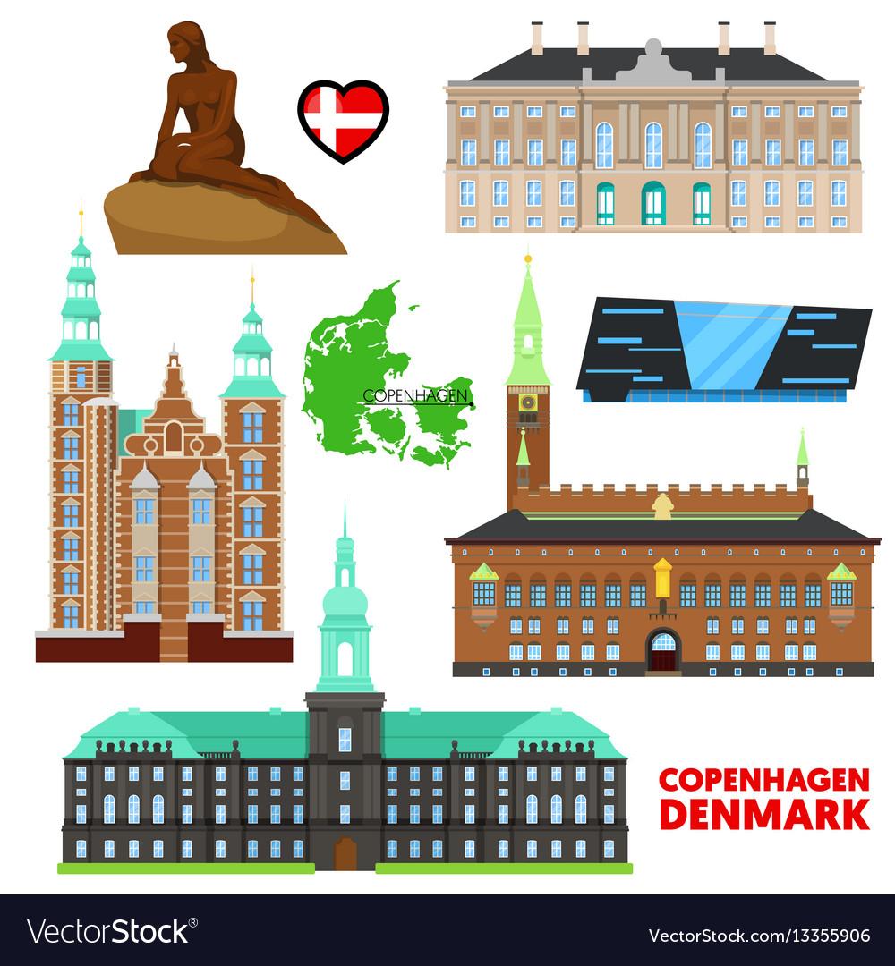 Denmark copenhagen travel set with architecture