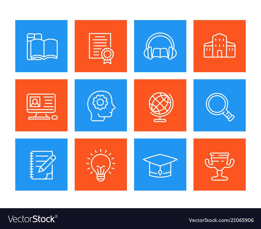 Education learning line icons set
