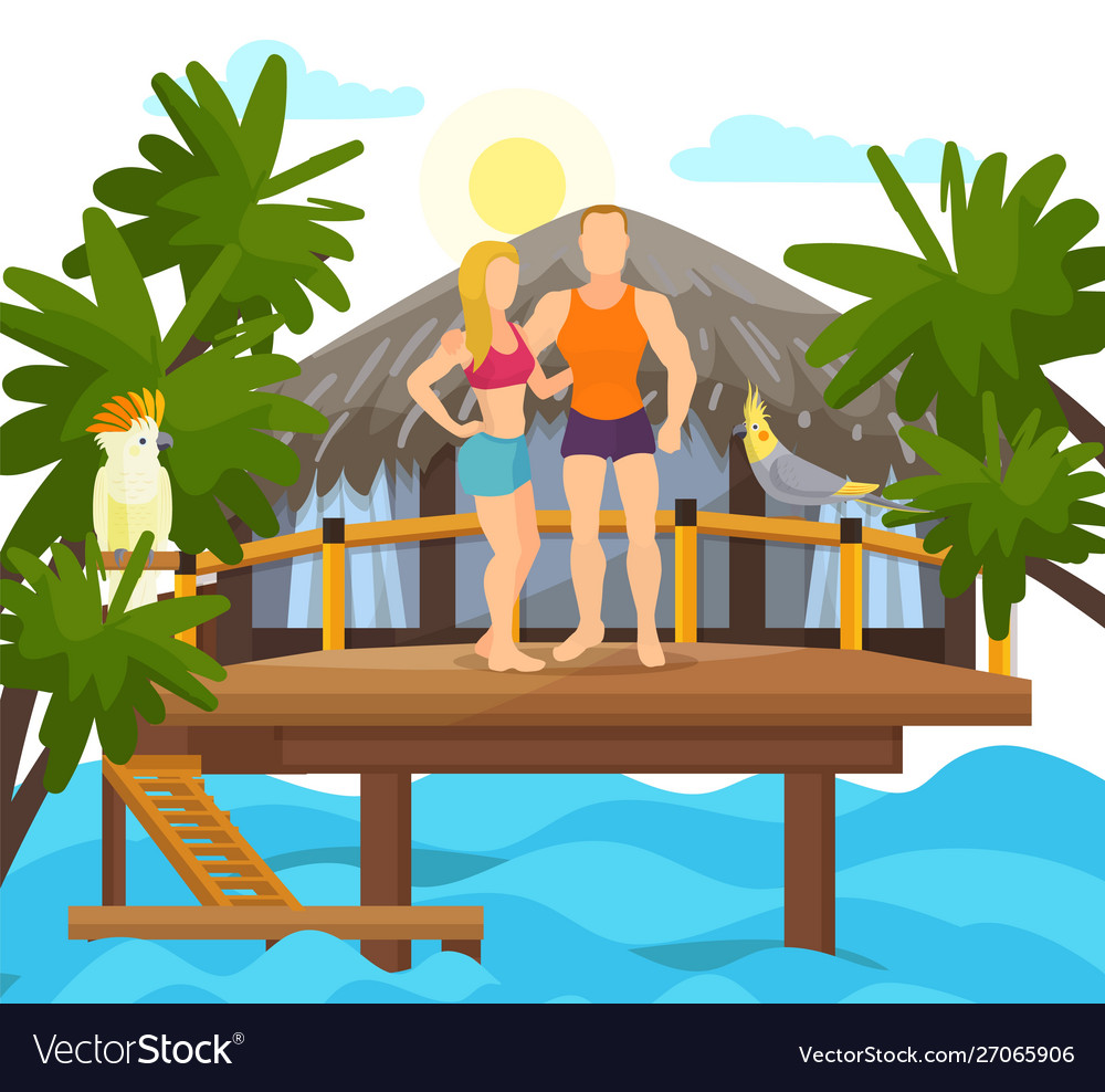Exotic tropical island vacation loved couple