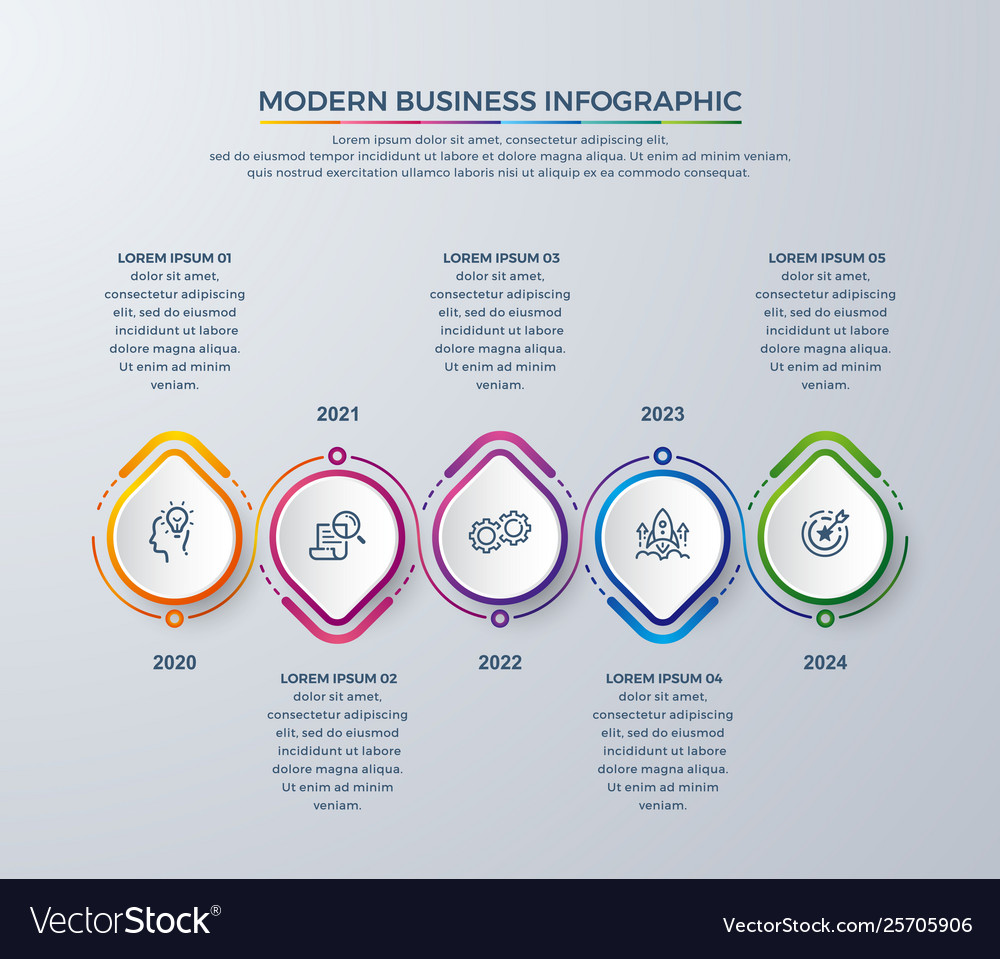 Infographic design with 5 process choices