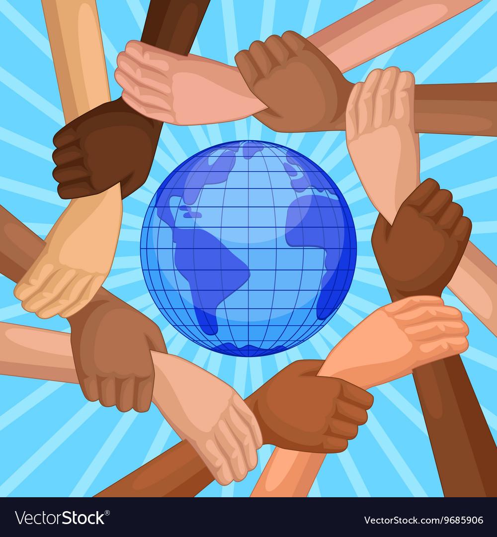 Multicultural hands around globe