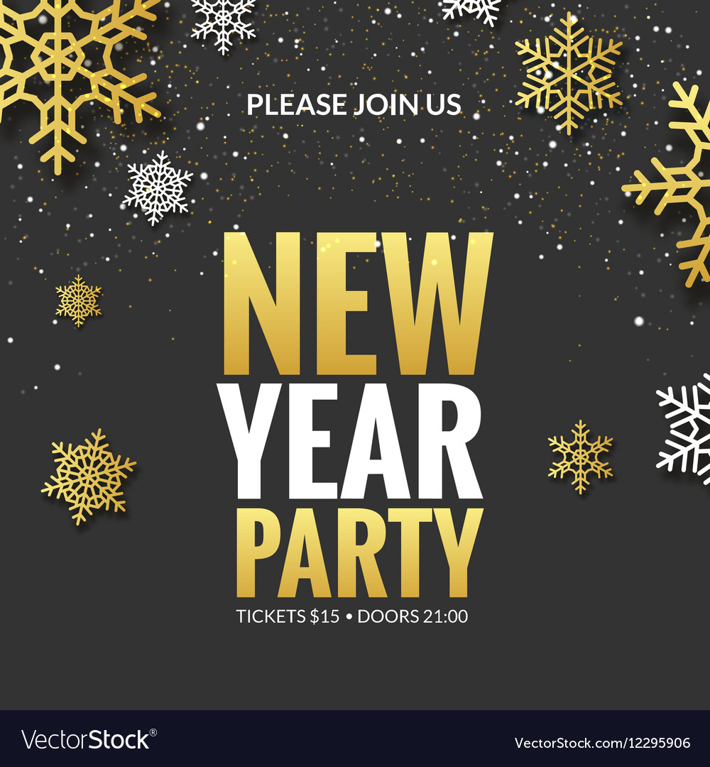 new year party invitation poster design retro gold vector image