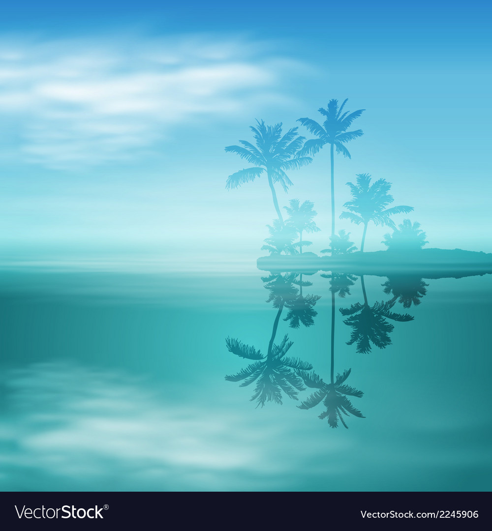 Sea with island and palm trees