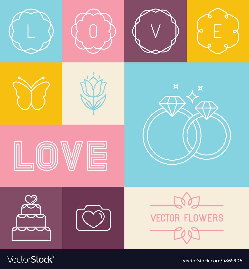 Set of linear icons for wedding invitations