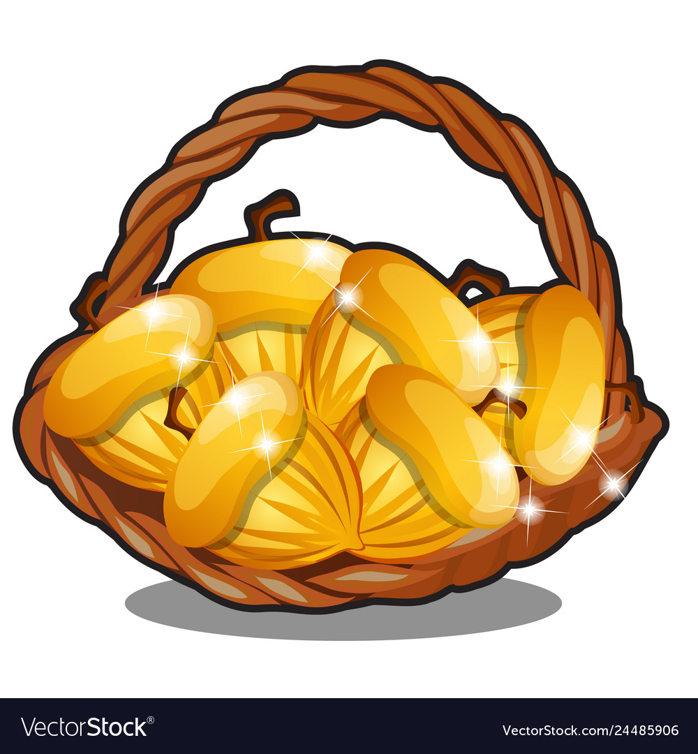 Wicker basket filled with golden nuts isolated on