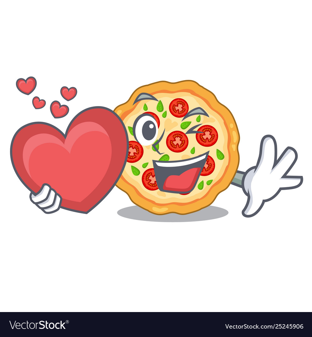 With heart margherita pizza isolated with the