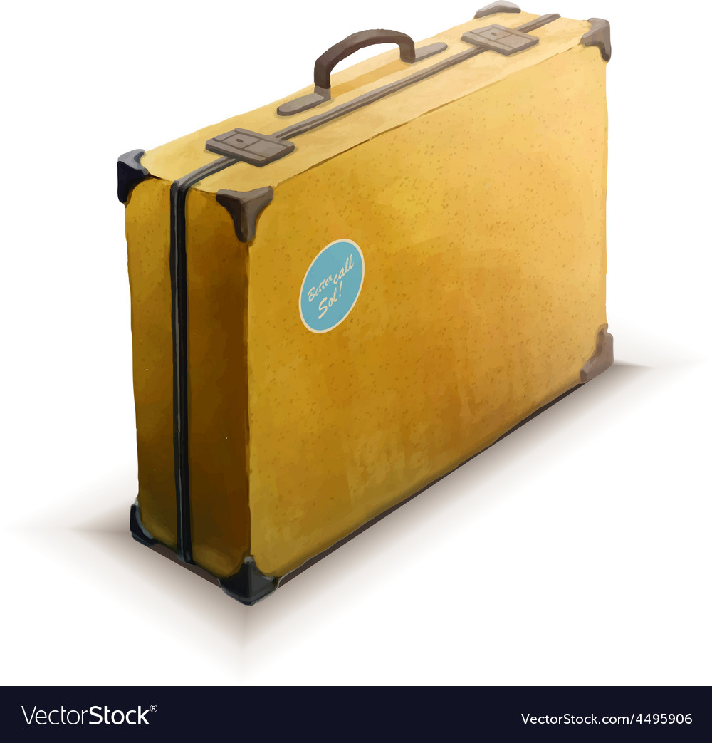 Yellow suitcase with sticker realistic icon on