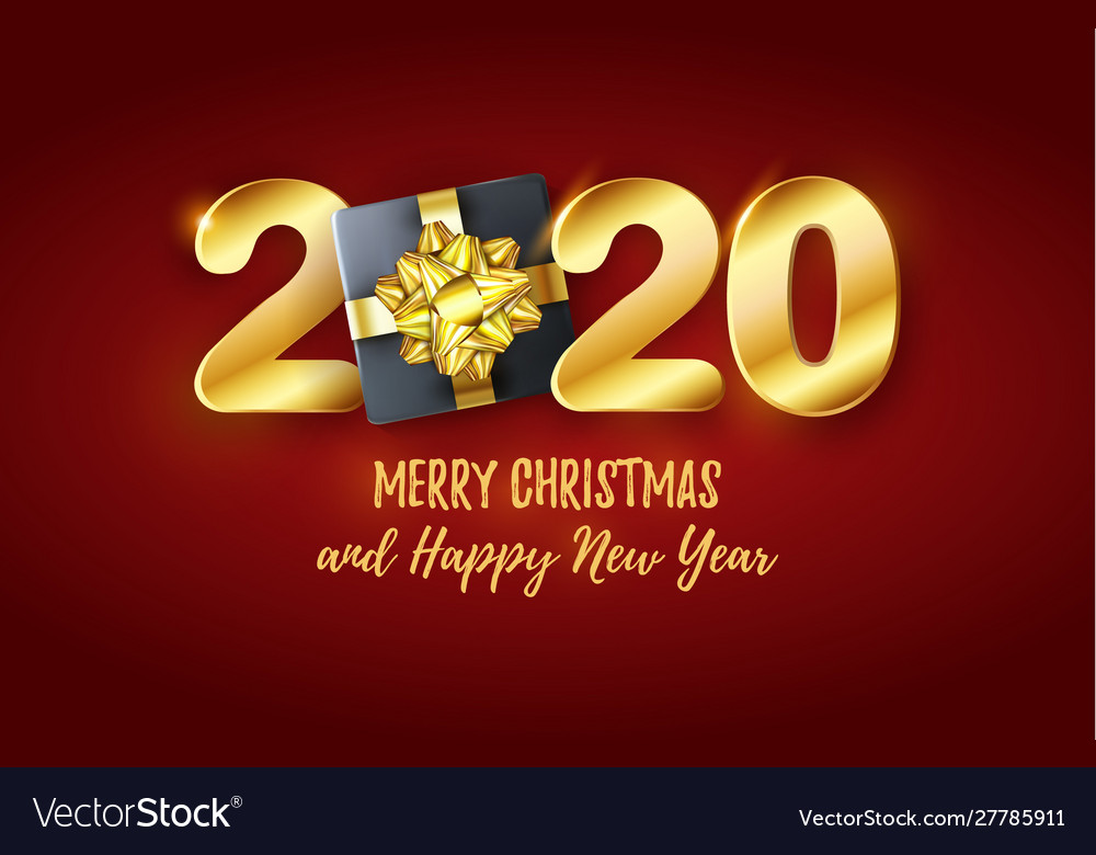 Merry Christmas Images 2020 3d 2020 golden text chic merry christmas Vector Image