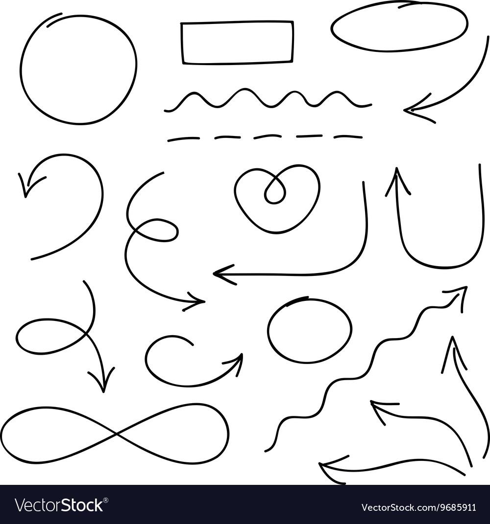 Arrows circles and doodle symbols set