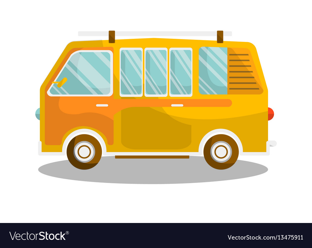 Camping yellow bus isolated on white background