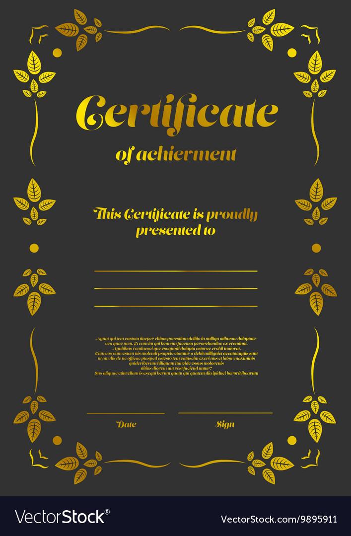 Gold vertical certificate template