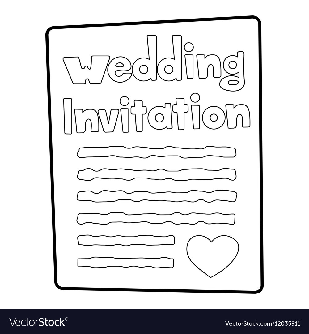 Invitation Icon Outline Style Royalty Free Vector Image