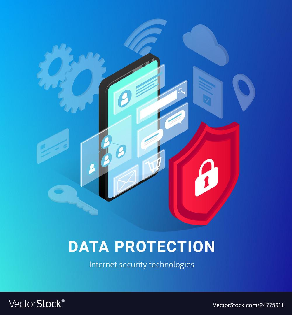 Isometric internet security phone gradient banner
