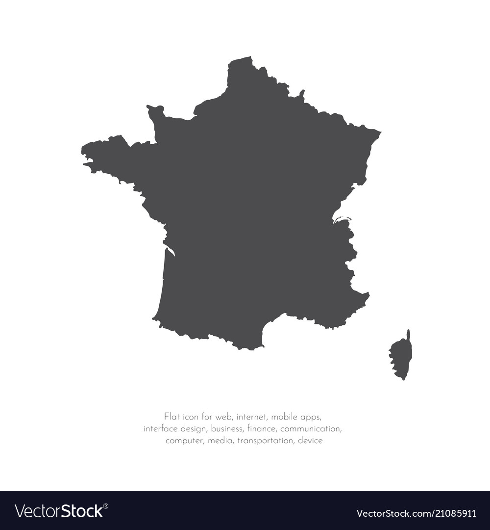 Map france isolated black on