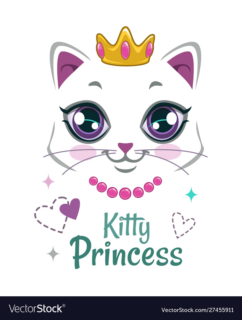 Pretty kitten print beautiful white princess cat