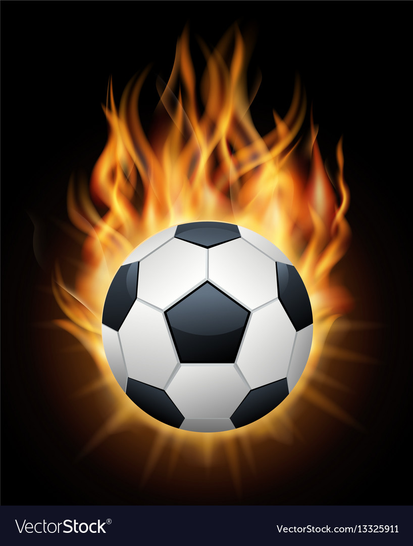 Realistic burning soccer ball isolated black
