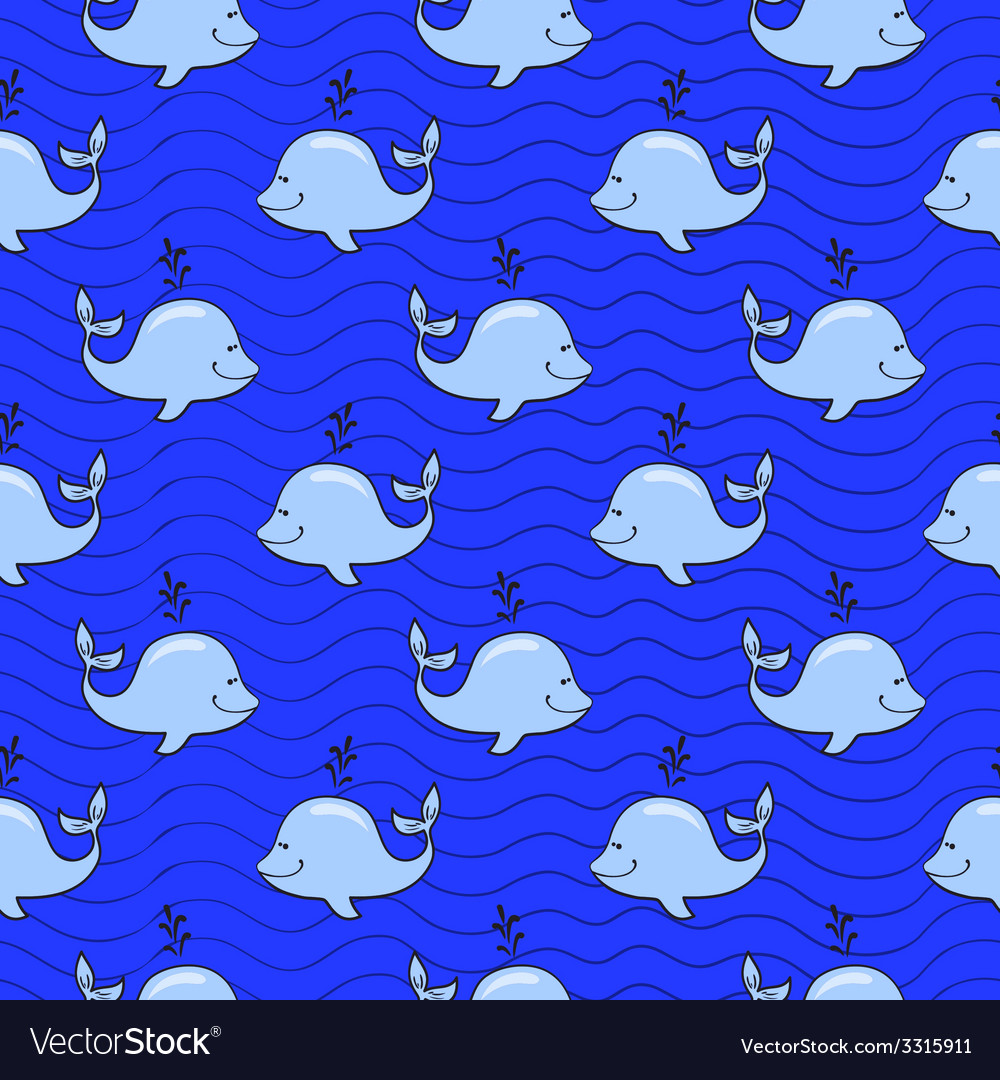 Seamless pattern with whale on blue ocean