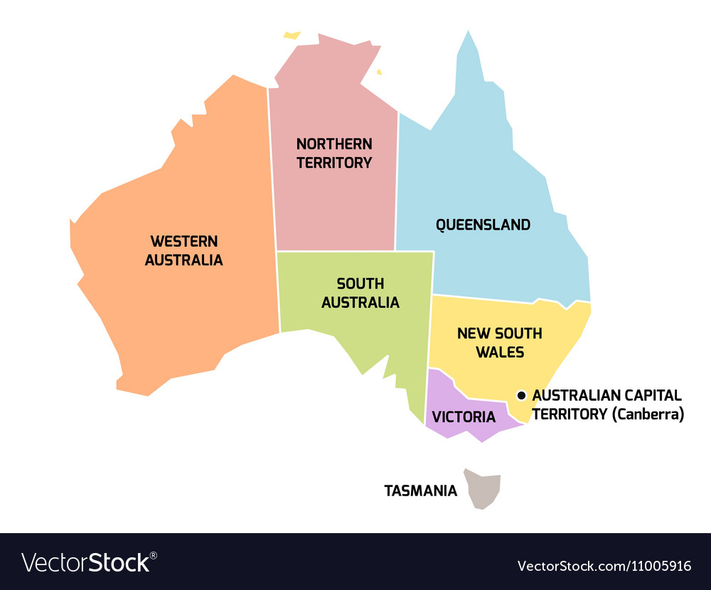 Australia Map Vector.Australia Map With States And Territories