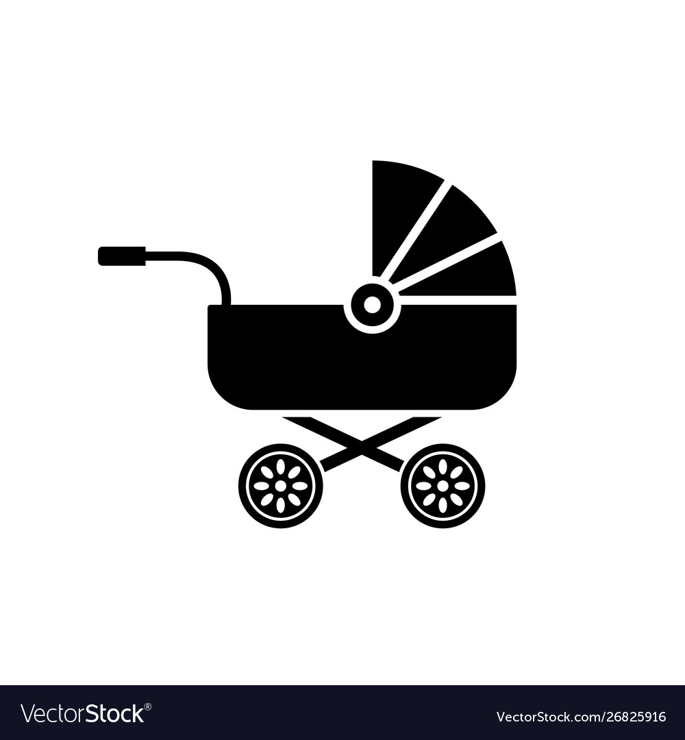 Bacarriage icon buggy pram stroller silhouette vector