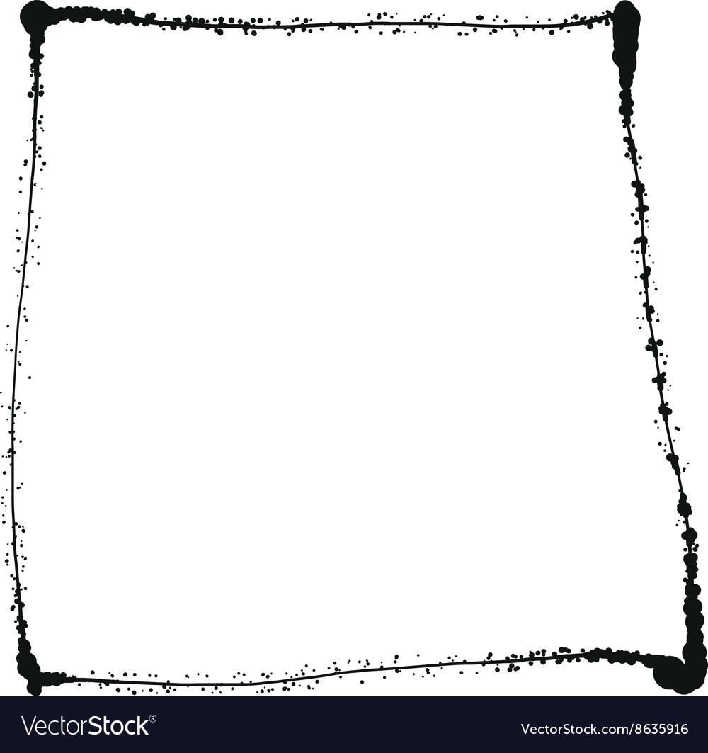 Black grunge frame isolated on the white