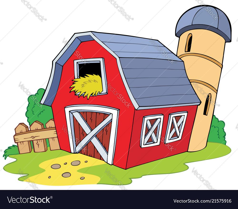 Cartoon Red Barn