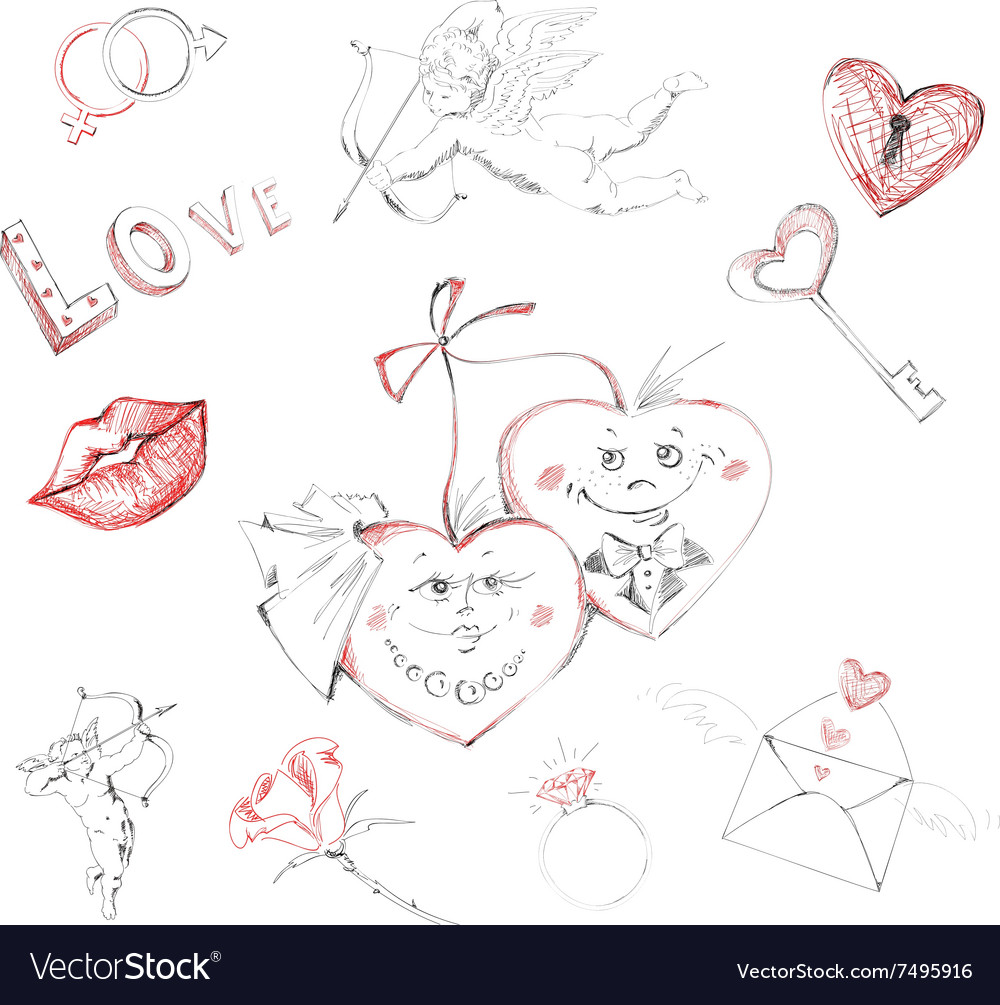 Freehand drawing valentines day vector image