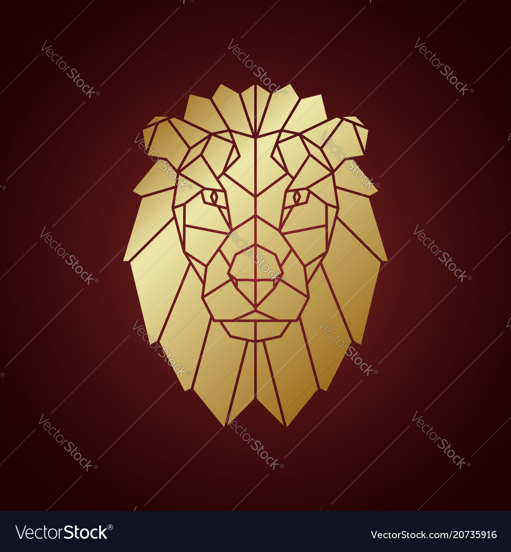 Golden lion head geometric silhouette