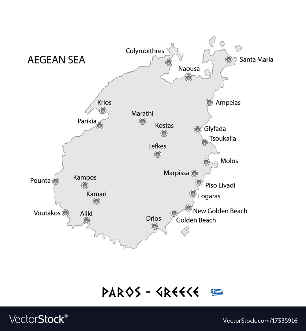 Island of paros in greece white map Royalty Free Vector