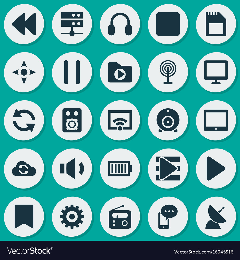 Media icons set collection of cloud cast mobile