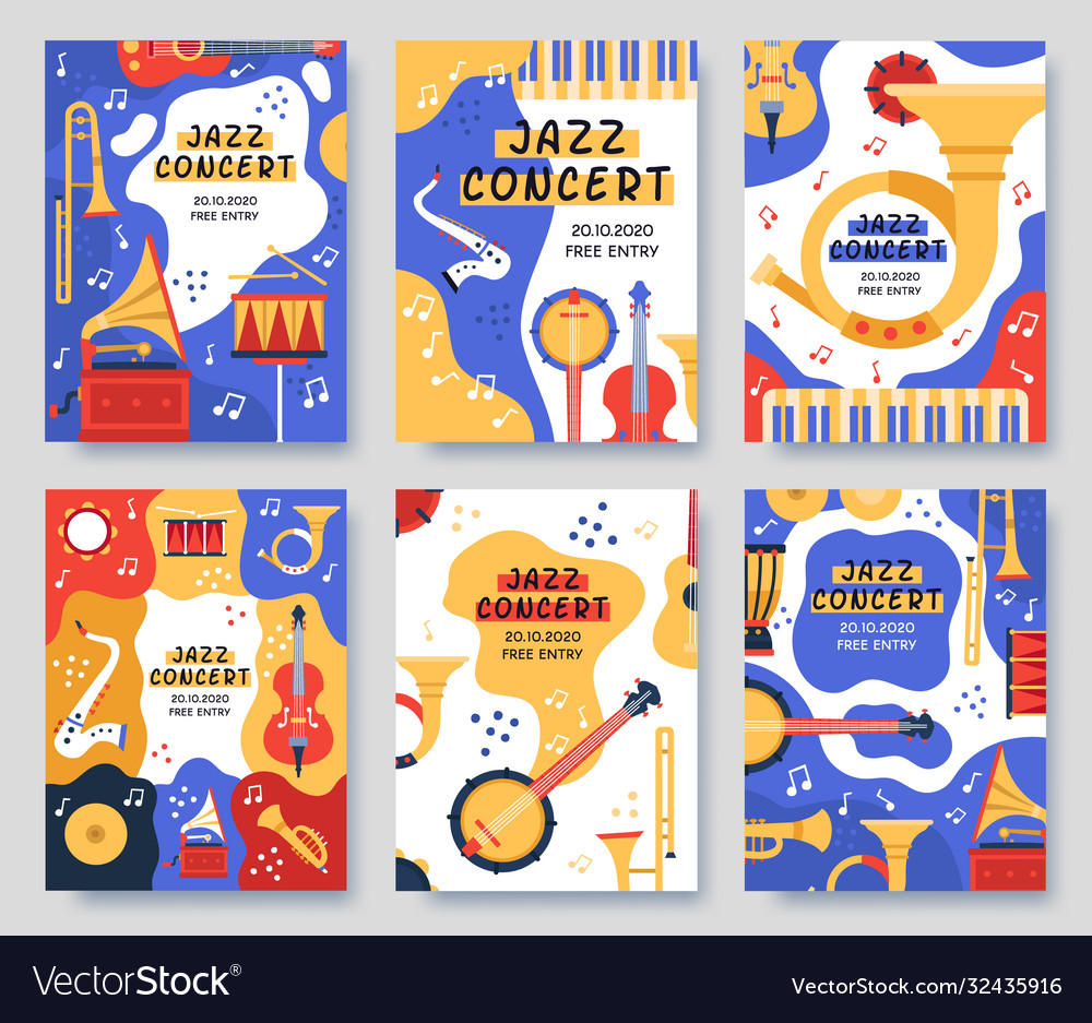 Music festival posters musical party or event