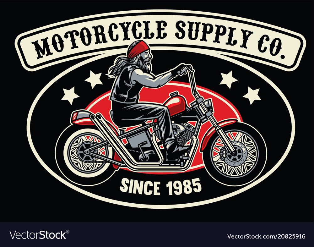 Old biker with chopper motorcycle