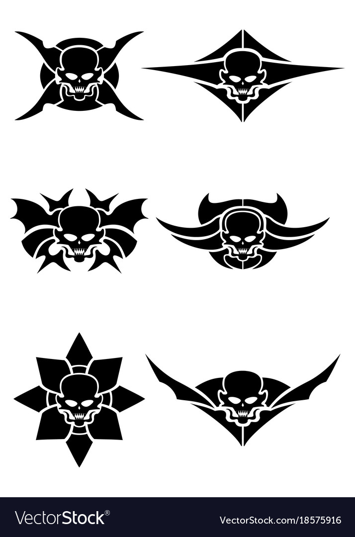Skull tribal tattoo set